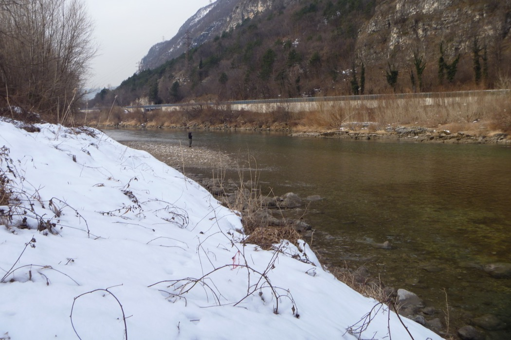 Sullo sfondo, Pietro pesca l'Adige