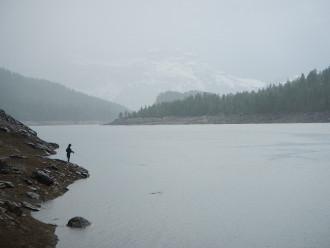 Pietro fishing in the rain