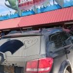 La nostra auto e un negozio di pesca!