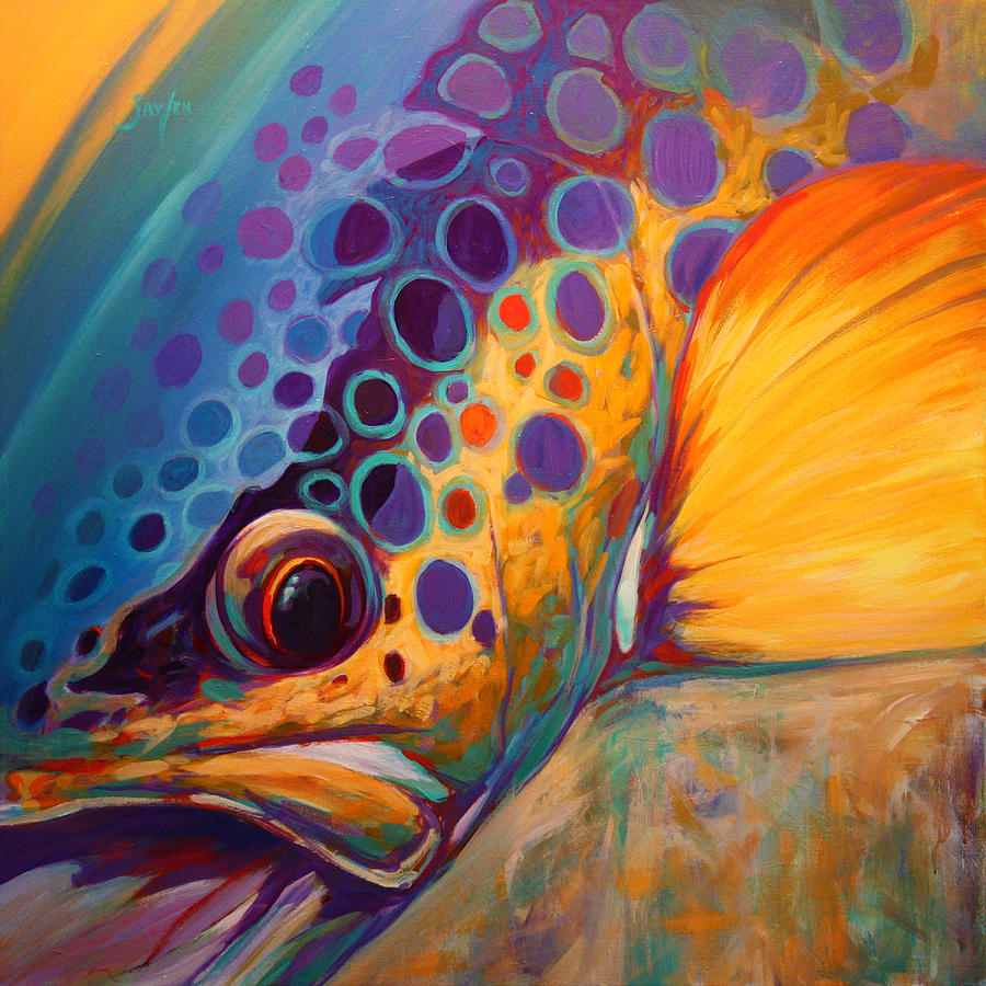 """""""River orchid brown trout"""" -by  Mike Savlen"""
