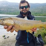 Morgan Calu and big Brown Trout