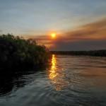 tramonto sull'Okawango