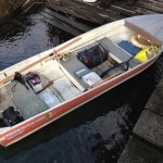 The Anonima Cucchiaino boat: Canadian 430, fuoribordo 6cv, motore elettrico 46lbs, equipaggiato da pesca.
