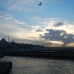 Veduta della città al tramonto